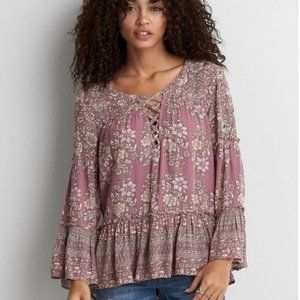 NWT American Eagle Floral Lace-Up Bell Sleeve